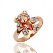 Bear Кольцо Кольцо  18 каратное золотое покрытие орный хрусталь Austrian Crystal SWA Element