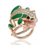 Frog Кольцо Кольцо  18 каратное золотое покрытие орный хрусталь Austrian Crystal SWA Element