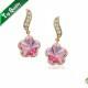 Pink Цветок Stud Серьги Кольцоs   Инкрустированно Genuine SWA ELEMENTS Austrian Crystal Wholesale