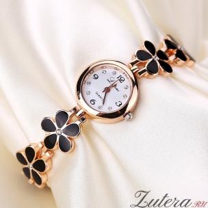 Позолоченные часы LV Black Flowers