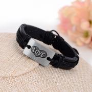 """Кожанный браслет """"Love"""" (чёрный)"""