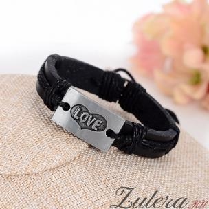 """Кожаный  браслет """"Love"""" (чёрный)"""