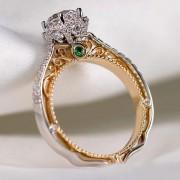 Кольцо комбинированное с кристаллом