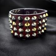Кожаный браслет с шипами (коричневый)