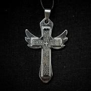 Мужской крест с крыльями и молитвой