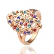 Multicolour Кольцо  18 каратное золотое покрытие орный хрусталь Austrian Crystal SWA Element