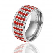Red and Clear Cross Stripe КольцоПокрытие  Austrian Crystal SWA Element
